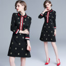 Dress Spring 2020 Elastic nylon cotton back zipper (bee embroidery with lining) S,M,L,XL,2XL Middle-skirt singleton  Long sleeves commute Doll Collar High waist Decor Socket other Others 25-29 years old Type H Retro nylon