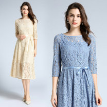 Dress Autumn 2020 S,M,L,XL,2XL longuette singleton  three quarter sleeve commute Crew neck middle-waisted Solid color Socket Princess Dress routine Others 25-29 years old Type A 81% (inclusive) - 90% (inclusive) Lace nylon