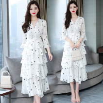 Dress Summer 2020 White (4-layer cake skirt + lining) M,L,XL,2XL,3XL Mid length dress singleton  Short sleeve commute V-neck High waist Broken flowers Single breasted Cake skirt routine Other / other Korean version