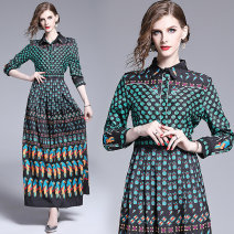 Dress Spring 2020 Pineapple parrot leaf positioning printing) side zipper M,L,XL,2XL longuette singleton  Nine point sleeve commute middle-waisted Single breasted A-line skirt routine Others 25-29 years old Type A printing other polyester fiber