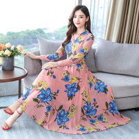 Dress Autumn of 2019 Black, pink, yellow, blue M,L,XL,2XL,3XL longuette singleton  Long sleeves commute V-neck middle-waisted Decor Socket A-line skirt other Others 35-39 years old Type A Classic sisters Korean version 81% (inclusive) - 90% (inclusive) Chiffon polyester fiber