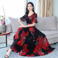 Dress Summer of 2019 Red, yellow M,L,XL,2XL,3XL longuette singleton  Short sleeve commute V-neck High waist Decor other Big swing pagoda sleeve Others 25-29 years old 81% (inclusive) - 90% (inclusive) Chiffon Chloroprene