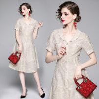 Dress Summer of 2019 Apricot M,L,XL,2XL Mid length dress Short sleeve middle-waisted Single breasted Big swing Button