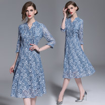 Dress Summer of 2019 Peacock blue (button placket side zipper with lining) S,M,L,XL,2XL longuette singleton  three quarter sleeve street V-neck High waist Single breasted Big swing Type A Pleats, lace Europe and America
