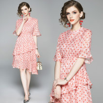 Dress Summer of 2019 Red (two layer cake with elastic waist lining) S,M,L,XL,2XL longuette singleton  elbow sleeve street stand collar Elastic waist Dot Socket Irregular skirt Lotus leaf sleeve Others Type A Europe and America