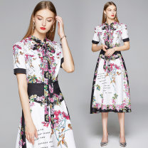Dress Summer 2020 Decor M. L, XL, 2XL, XXL weight 0.36 Middle-skirt other Short sleeve street stand collar Decor Socket Big swing routine Others 30-34 years old Type A 31% (inclusive) - 50% (inclusive) other Cellulose acetate Europe and America