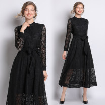 Dress Spring 2021 Black (single breasted side zipper lining belt) S,M,L,XL,2XL longuette singleton  Long sleeves street stand collar middle-waisted Solid color Single breasted Big swing shirt sleeve Type A Lace Europe and America