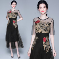 Dress Summer 2020 Black (mesh Gold Rose Embroidery back zipper) M,L,XL,2XL longuette Short sleeve commute Crew neck middle-waisted Gauze, embroidery