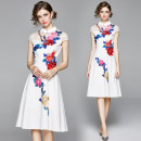 Dress Summer 2020 White (mesh) perspective flower and bird embroidery back zipper M,L,XL,2XL Middle-skirt singleton  Short sleeve street stand collar middle-waisted Decor zipper Big swing Wrap sleeves Type A Embroidery, gauze Europe and America