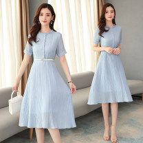 Dress Summer 2020 Blue (single breasted side zipper lined) waistband S,M,L,XL Mid length dress singleton  Short sleeve commute Crew neck High waist Solid color zipper Big swing shirt sleeve Others 25-29 years old Type A lady Auricularia auricula, 3D 30% and below other nylon