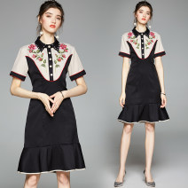 Dress Autumn 2020 black S,M,L,XL,2XL Miniskirt singleton  Short sleeve street stand collar High waist Broken flowers Single breasted Ruffle Skirt routine Others 25-29 years old Type X Lotus leaf edge 81% (inclusive) - 90% (inclusive) brocade other Europe and America