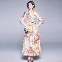 Dress Spring 2020 longuette singleton  Long sleeves Sweet V-neck middle-waisted Decor zipper Big swing bishop sleeve 25-29 years old 31% (inclusive) - 50% (inclusive) Chiffon hemp Countryside