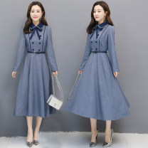 Dress Spring 2020 Blue with inner zipper (necktie and belt for free) S,M,L,XL,2XL,3XL Mid length dress Long sleeves Doll Collar middle-waisted zipper A-line skirt puff sleeve 25-29 years old Three dimensional decoration, button, zipper