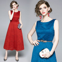 Dress Summer of 2019 Red, blue S,M,L,XL,2XL longuette singleton  street Crew neck middle-waisted zipper Type A Lace Europe and America