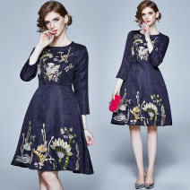 Dress Spring 2020 Sapphire blue (embossed jacquard embroidered back zipper lining) S,M,L,XL,2XL Mid length dress singleton  Nine point sleeve street Crew neck middle-waisted Broken flowers Socket Ruffle Skirt routine Others 25-29 years old Type A Embroidery 31% (inclusive) - 50% (inclusive) other