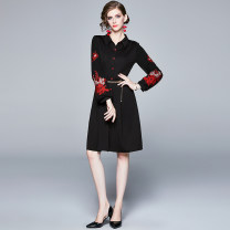 Dress Spring 2021 Black (embroidered lantern sleeve cardigan with waist chain) S,M,L,XL,2XL Middle-skirt singleton  Long sleeves street stand collar Solid color Single breasted Big swing bishop sleeve Others 25-29 years old Type A Embroidery, zipper 31% (inclusive) - 50% (inclusive)