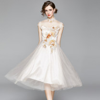 Dress Summer 2020 Champagne (2-layer mesh bra with perspective embroidery) M (back zipper satin lining), l (back zipper satin lining), XL (back zipper satin lining), XXL (back zipper satin lining) Mid length dress singleton  Short sleeve street stand collar middle-waisted Solid color zipper Big swing