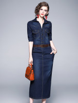 Dress Spring 2020 Blue (rivet 4 pocket back split) belt S,M,L,XL,2XL,3XL longuette singleton  elbow sleeve commute Polo collar middle-waisted Solid color Single breasted One pace skirt routine Others Angel City Bowknot, rivet 81% (inclusive) - 90% (inclusive) Denim