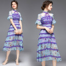 Dress Summer 2020 10 bar lace back zipper S (ear edge stand collar velvet lace pearl pendant), m (Lace Chiffon 2-layer lotus leaf sleeve), l (Bubble Sleeve Silk Chiffon Purple lining), XL (animal conch letter printing), XXL (Bubble Sleeve Silk Chiffon Purple lining) Miniskirt singleton  Short sleeve