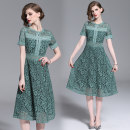 Dress Spring 2021 Green (2 bar lace back zipper) S,M,L,XL,2XL longuette singleton  Short sleeve street Crew neck middle-waisted zipper Big swing Type A Hollow, lace Lace Europe and America