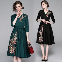 Dress Spring 2020 Black (embroidered back zipper lining) belt, dark green (embroidered back zipper lining) belt S,M,L,XL,2XL longuette singleton  three quarter sleeve street V-neck High waist Solid color Pleated skirt routine Type A Europe and America