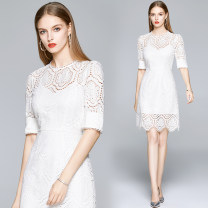 Dress Summer 2020 White (high grade cotton and hemp) cut out embroidery back zipper S (high-grade soft white lining), m (strap bra hollow perspective design), l (two-piece design), XL (unique elegant wave HEM), XXL (bubble sleeve hollow embroidery hook) Middle-skirt singleton  Short sleeve street