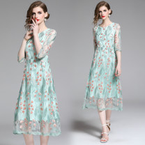 Dress Summer of 2019 Light green (mesh, safflower, green leaf, embroidered back zipper) S,M,L,XL,2XL Mid length dress singleton  elbow sleeve street Crew neck middle-waisted Decor zipper A-line skirt routine 25-29 years old Embroidery, zipper 31% (inclusive) - 50% (inclusive) Europe and America