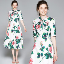 Dress Summer 2020 Side zipper with green rose print on white background M,L,XL,2XL Mid length dress singleton  Short sleeve street other middle-waisted Big flower zipper Princess Dress routine Others 30-34 years old Type A Other / other 81% (inclusive) - 90% (inclusive) other Cellulose acetate