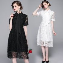 Dress Summer 2020 Single breasted tie with black lining S,M,L,XL,2XL longuette singleton  Short sleeve street Polo collar middle-waisted Solid color Single breasted A-line skirt routine Lace Europe and America