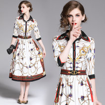 Dress Summer of 2019 White (positioning printed single breasted side zipper) M,L,XL,2XL Mid length dress singleton  elbow sleeve street Polo collar middle-waisted Decor Socket Pleated skirt shirt sleeve Others 25-29 years old Type A printing 81% (inclusive) - 90% (inclusive) cotton Europe and America