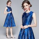 Dress Autumn 2020 Blue (jacquard printed back zipper with black lining) S,M,L,XL,2XL Mid length dress singleton  Sleeveless commute Crew neck middle-waisted Decor zipper Big swing Type A