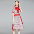 Dress Summer 2020 Red (stripe contrast side zipper pleated HEM) M (for red and blue striped tie), l (for red and blue striped tie), XL (for red and blue striped tie), XXL (for red and blue striped tie) Middle-skirt singleton  Short sleeve street Polo collar middle-waisted Decor zipper Pleated skirt