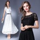 Dress Summer of 2019 White, black S,M,L,XL,2XL longuette singleton  Short sleeve commute Crew neck middle-waisted Type A