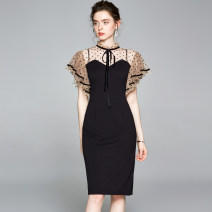 Dress Spring 2020 Black (Auricularia auricula) vertical collar, flying sleeve, X-ray back zipper S, m, l, XL, XXL Mid length dress singleton  Short sleeve street square neck middle-waisted Solid color zipper One pace skirt Lotus leaf sleeve Others 25-29 years old Type X Ruffles, ruffles knitting