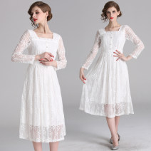 Dress Autumn 2020 white S,M,L,XL,2XL Mid length dress singleton  Long sleeves commute One word collar middle-waisted Solid color zipper Princess Dress other Others 25-29 years old Type X Retro Lace