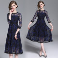 Dress Autumn 2020 Blue flower on black background (cut out lace back zipper) S,M,L,XL,2XL longuette singleton  three quarter sleeve street Crew neck High waist Socket Big swing routine Type A Hollow, lace Lace Europe and America