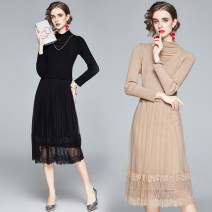 Dress Autumn 2020 Black, khaki M,L,XL,2XL Miniskirt singleton  Long sleeves street Half high collar middle-waisted Solid color Socket Pleated skirt routine Others 25-29 years old Type A Diamond inlay 51% (inclusive) - 70% (inclusive) polyester fiber Europe and America