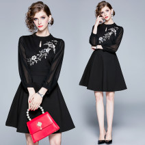 Dress Autumn of 2019 Black (cut out heavy embroidery Chiffon sleeve back zipper) S,M,L,XL,2XL Middle-skirt singleton  Long sleeves street Crew neck middle-waisted other A-line skirt bishop sleeve Others 25-29 years old 31% (inclusive) - 50% (inclusive) cotton Europe and America