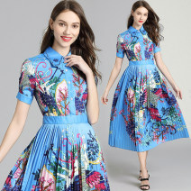 Dress Summer 2020 Blue (positioning printing pleated hem side zipper) S,M,L,XL,2XL longuette Short sleeve commute High waist Decor Single breasted Pleated skirt 25-29 years old Type A Ol style 31% (inclusive) - 50% (inclusive) polyester fiber