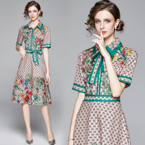 Dress Spring 2021 Middle-skirt singleton  Short sleeve street middle-waisted Decor Socket A-line skirt routine Others 25-29 years old Type A 91% (inclusive) - 95% (inclusive) cotton Europe and America