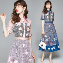 Dress Summer 2020 Pink (rose ring positioning printing side zipper, royal blue (rose ring positioning printing side zipper) M (double bottom of yarn with vinegar), l (double bottom of yarn with vinegar), XL (double bottom of yarn with vinegar), XXL (double bottom of yarn with vinegar) singleton