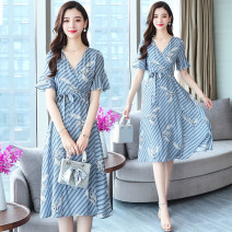 Dress Summer 2020 Blue and white stripe (crane printed belt with lining) S,M,L,XL Mid length dress singleton  Short sleeve commute V-neck High waist other Socket Big swing Lotus leaf sleeve Others 25-29 years old Type X Simplicity 91% (inclusive) - 95% (inclusive) Chiffon