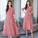 Dress Summer of 2019 Red flowers (tie for belt), white flowers (tie for belt) M,L,XL,2XL,3XL longuette singleton  Sweet stand collar middle-waisted Decor Socket Big swing Lotus leaf sleeve Others 25-29 years old Chiffon Bohemia