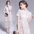 Dress Spring of 2019 white S. M, l, XL, XL weight 0.35 Middle-skirt singleton  Short sleeve street Crew neck middle-waisted A-line skirt routine Others 35-39 years old Type A Lace Cellulose acetate Europe and America