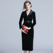 Dress Autumn 2020 M,L,XL,2XL longuette singleton  Long sleeves commute V-neck middle-waisted Solid color double-breasted Pencil skirt routine Breast wrapping Type H Lace up