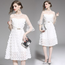 Dress Spring 2020 White (mesh and three-dimensional zipper) belt S,M,L,XL,2XL Mid length dress singleton  elbow sleeve commute Crew neck High waist Solid color other Big swing pagoda sleeve Others 25-29 years old Type A Retro Stitching, stereo decoration, zipper Chiffon Cellulose acetate
