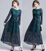 Dress Autumn 2020 Green (belt) M,L,XL,2XL longuette singleton  Long sleeves street Crew neck middle-waisted Decor Socket Big swing routine Others 25-29 years old Type A Zipper, lace 81% (inclusive) - 90% (inclusive) Lace cotton Europe and America