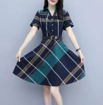 Dress Summer 2020 Green check (belt), red check (belt) S,M,L,XL,2XL,3XL Middle-skirt singleton  Short sleeve commute Polo collar middle-waisted lattice zipper routine Others Type A 71% (inclusive) - 80% (inclusive) other other