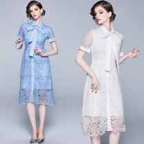 Dress Summer of 2019 White (cardigan skirt with lining for tie), sky blue (cardigan skirt with lining for tie) S,M,L,XL,2XL longuette singleton  Short sleeve street stand collar middle-waisted Dot Single breasted Big swing routine Others 25-29 years old Type A Hollow out, bandage Europe and America