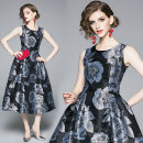 Dress Autumn 2020 The back zipper is lined with gilded jacquard S,M,L,XL,2XL Mid length dress singleton  Sleeveless street Crew neck middle-waisted zipper Big swing Type A Europe and America